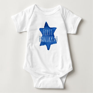 Blue Watercolor Star of David with Text Baby Bodysuit