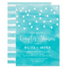 Blue Watercolor   String Lights Couples Shower Card