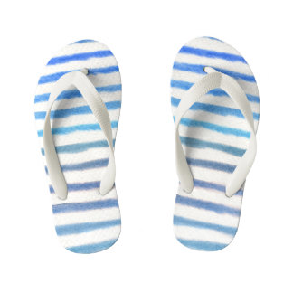 Blue Watercolor Stripes Kid's Flip Flops