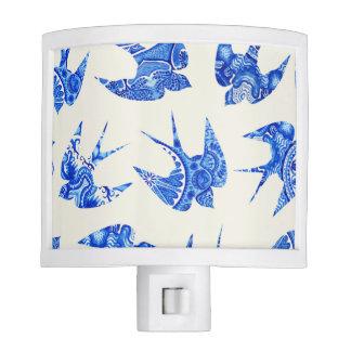 Blue Watercolor Swallow Bird Pattern Night Lites