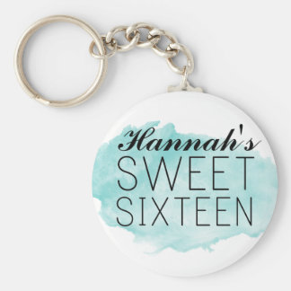 Blue Watercolor Sweet 16 Keychain Favor/Gift