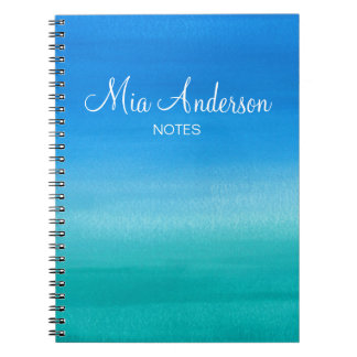 Blue Watercolor Teal Personalized Marine Notebook