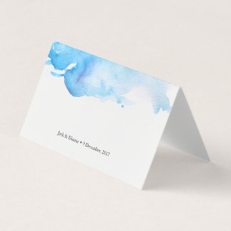 Blue watercolor Tent Cards   Wedding Place Cards