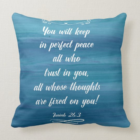 Blue Watercolor throw pillow with Isaiah 26:3