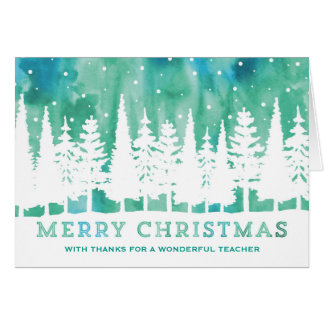 Blue Watercolor Trees Teacher Christmas Card
