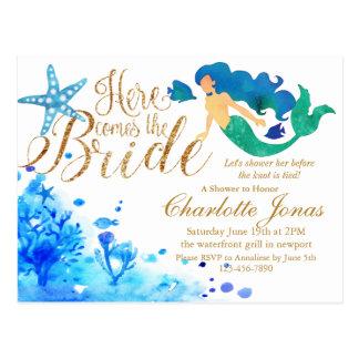 Blue watercolor undersea sweet mermaid golden text postcard