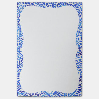 Blue watercolor vines classic painted leaves print post-it notes