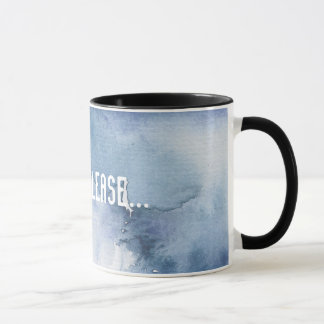 Blue Watercolor Wash Coffee Mug Black Rim Handle