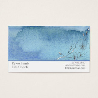 Blue Watercolor Wash Flower Business Card