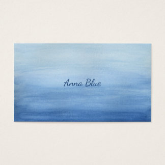 Blue Watercolor Wash Gradient Ombre Shades of Blue Business Card