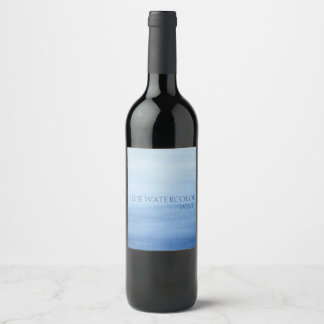 Blue Watercolor Wash Ombre Shades of Blue Wine Label