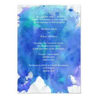Blue Watercolor Wedding Invitation