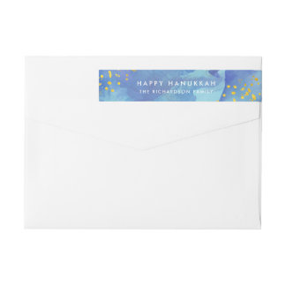 Blue Watercolor with Faux Gold | Happy Hanukkah Wrap Around Label