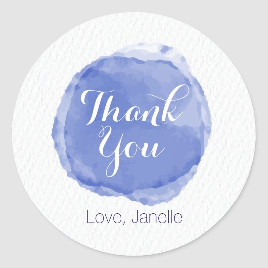 Blue Watercolor with Linen Texture Classic Round Sticker