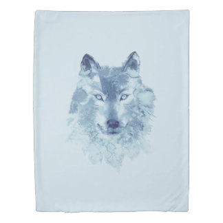 Blue Watercolor Wolf (1 side) Twin Duvet Cover