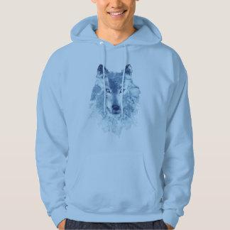 Blue Watercolor Wolf Hoodie