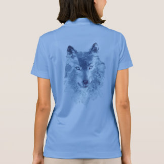 Blue Watercolor Wolf Nike Polo Shirt