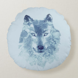 Blue Watercolor Wolf Round Pillow