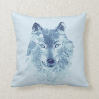 Blue Watercolor Wolf Throw Pillow