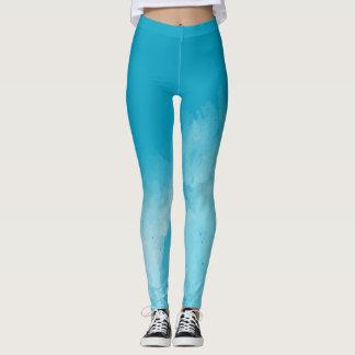 Blue watercolor workout leggings