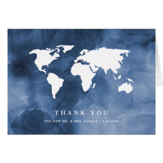 Blue Watercolor | World Map Thank You Card