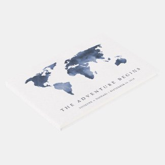 Blue Watercolor | World Map Wedding Guest Book
