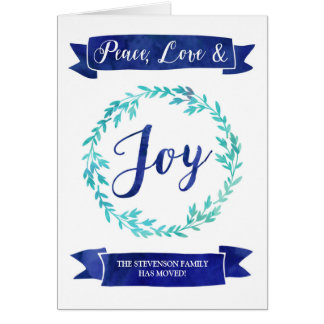Blue Watercolor Wreath Christmas New Address Card