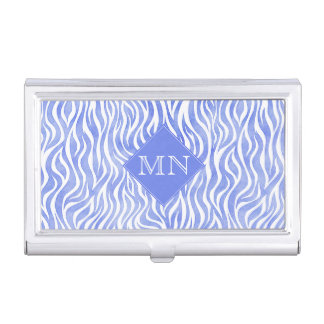 Blue Watercolor Zebra Pattern | Monogram Business Card Holder