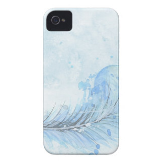 Blue Watercolour Feather iPhone 4 Case-Mate Cases