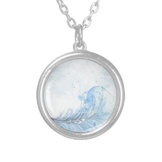 Blue Watercolour Feather Silver Plated Necklace