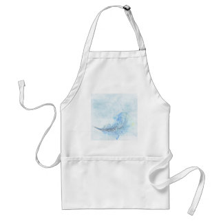 Blue Watercolour Feather Standard Apron