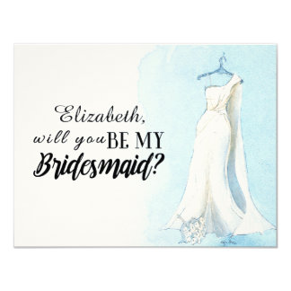 """Blue Watercolour Gown  """"Will you be my bridesmaid"""" 4.25"""" X 5.5"""" Invitation Card"""