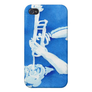 Blue watercolour painting of trumpet player iPhone 4 covers