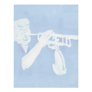 Blue watercolour painting of trumpet player letterhead