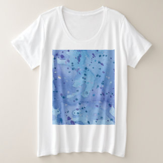 Blue Watercolour Splat Plus Size T-Shirt
