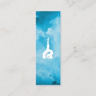 Blue watercolour Yoga Mini Business Card