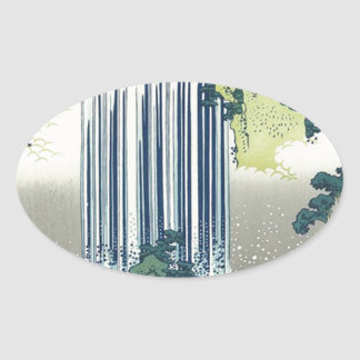 Blue Waterfall Oval Sticker