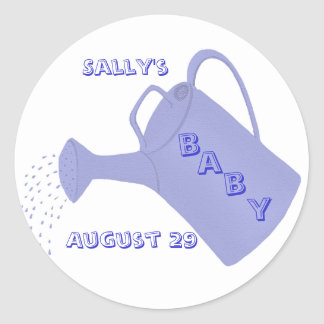 Blue watering can, Custom baby shower stickers