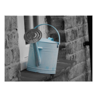 Blue Watering Can Poster