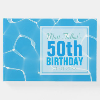 Blue Waterpool 50th Birthday Guest Book