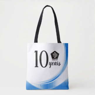 Blue wave 10 year employee anniversary award tote bag