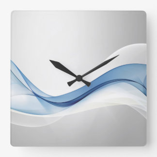 Blue Wave Abstract Wall Clock