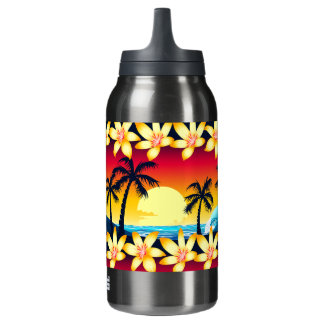 Blue wave at sunrise insulated water bottle