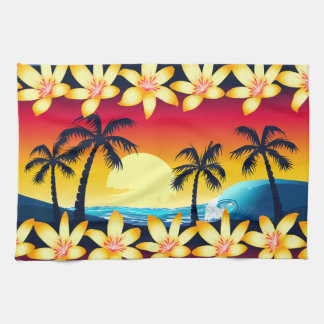 Blue wave at sunrise kitchen towel