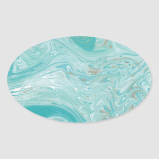 Blue Wave Marble Oval Sticker