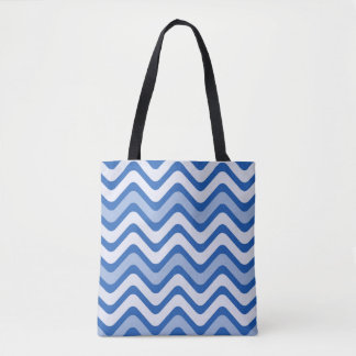 Blue wave pattern tote bag