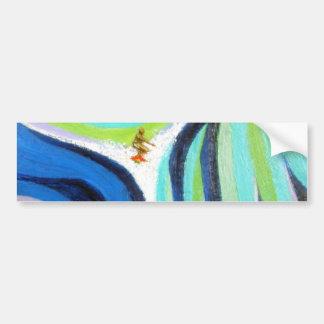 Blue Wave Surf Surfing Surfer Art Painting Bumper Sticker