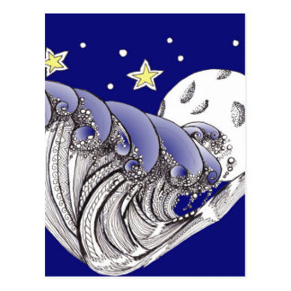 Blue Waves and Full Moon Postcard