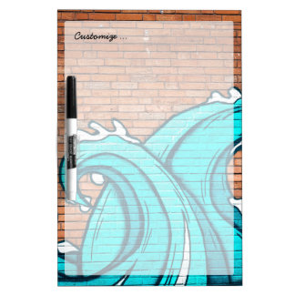 Blue Waves Cool Mural Wall Graffiti Dry Erase Boards