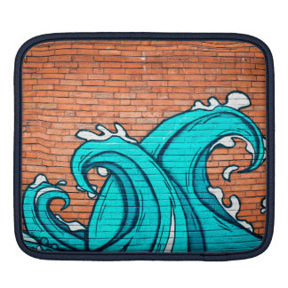 Blue Waves Cool Mural Wall Graffiti iPad Sleeve